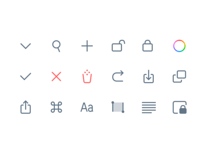 Chars 2 UI Pictograms paste copy undo share command selection lock search icons pictograms interface chars