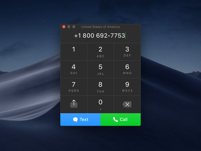 Numpad Interface mojave dark facetime call text phone keys keypad ui interface numpad
