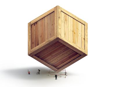 Box techdesign illustration wood box