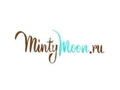 Mintymoon Logo logotype logo lettering calligraphy brushpen moon minty