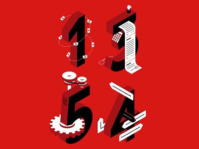 Illustrated Numbers isometric red presentation flat illustration