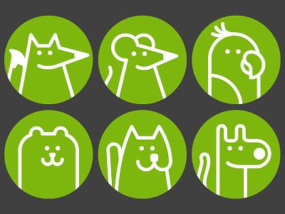 Avatar placeholders circle avatar bear dog fox cat parrot mouse line animal illustration