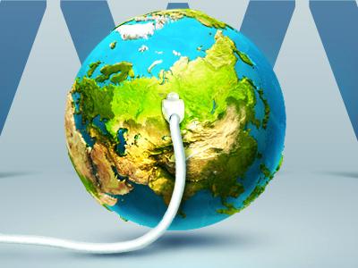 Internet spread in Russia illustration techdesign earth cable