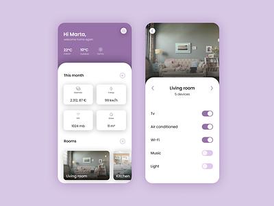 Daily UI 021 - Smart Home App smarthome smartapp dailyuichallenge daily ui minimal userinterface vector icon uidesign dailyui app design ux ui