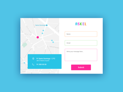 Daily UI 028 - Contact us contact form contact ux design contact us color palette map colorful logo branding typography daily ui userinterface uidesign dailyui design ux ui