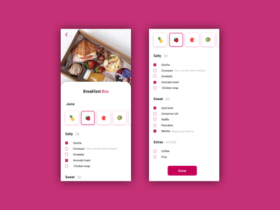 Daily UI 033 - Customize product food app box product customize product customize interface illustration uxdesign userinterface uidesign minimal app dailyui design ux ui