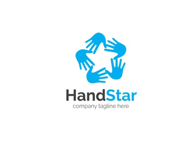 Hand Star Logo negative-space star hand branding logo