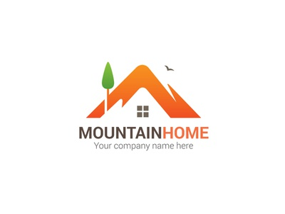 Mountain Home Logo real estate agency builders mountain design logo branding