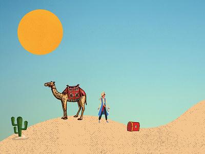 Arabian Desert orange teal sand summer sun cactus treasure camel desert illustration desert arabian nights arabian