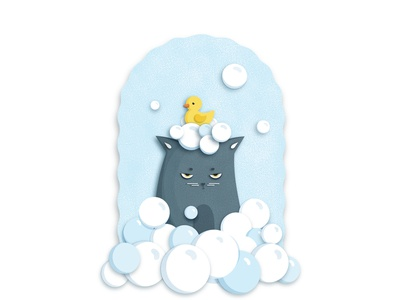 Grumpy bathing adobe illustrator kitten vectorart vector illustration papercut take shower characterdesign funny cat take bath pet cute animal bathing grumpy cat