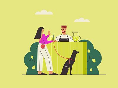 Fresh lemonade lime pet dog fresh design character man bar drink woman pretty girl lemonade hot summer vector illustration