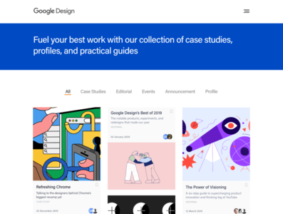 Google Design: Landing Page profiles casestudy homepage ui design articles google google design landing page