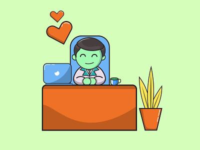 passionate office worker logodesign office desk office design office tools cute chibi manager logo characterdesign vector cartoon character branding editable marketing web illustration 2021 design