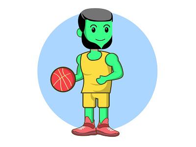 cute character vector illustration nba players creative athlete player chracter design logo cartoon character vector editable marketing web illustration 2021 design branding