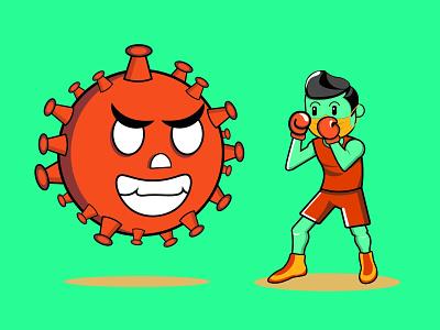 fighting virus safe covid 19 virus fighting boxing quarantine corona virus chibi editable logo cartoon character vector marketing web illustration 2021 design