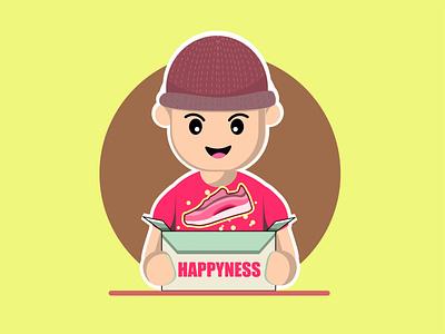 unboxing chibi mascot logo design customer unboxing shoes happy shoes package unboxing logo characterdesign cartoon character vector editable marketing web illustration branding 2021 design