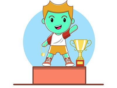 Champion chibi guy emotes stickers mascotlogo athlete excercise winner champion cute illustration cute art chibi logo cartoon character vector editable marketing web illustration branding 2021 design