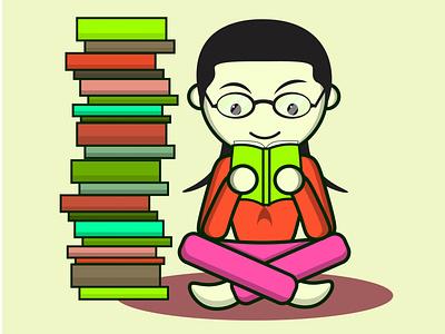 Reading is fun books library study learn education art cute reading logo cartoon character vector editable web illustration branding 2021 design marketing