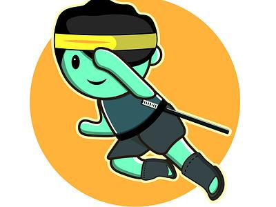 Cute ninja mascot logo mascot cute art cute jumping assasin shinobi ninja chibi logo cartoon character vector editable marketing illustration branding 2021 design
