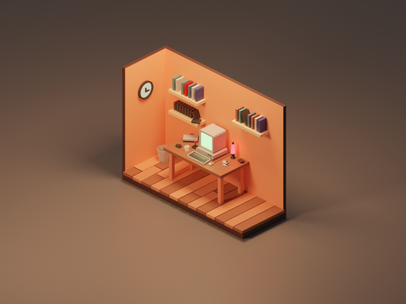 Old Nerdy Vibes nerdy room design retro lowpolyart lowpoly old isometric blender diorama 3d