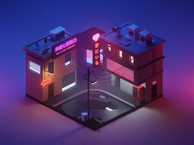 Cyberpunk Vibes isometric blendercycles lowpoly diorama buildings 3d art blender 3d cyberpunk
