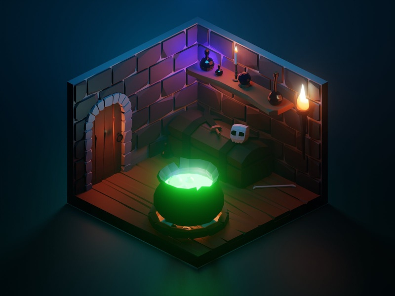 The Dungeon witcher magic eevee blendereevee isometric diorama dungeon tutorial lowpolyart lowpoly blender 3d