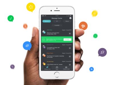 Message Center UI ux app interface user ui notifications scontu center message