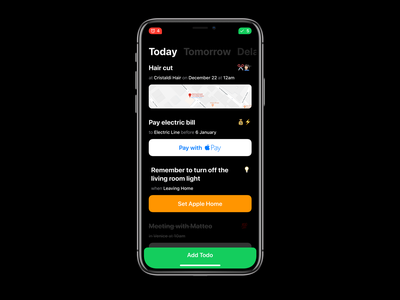 Ambrogio - an AI assistant for iPhone X flinto ai ux ui notification notch ios todo iphonex iphone app notchless