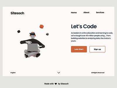 Let's Code codeart design graphic design vector typography codepen website development agency development code icon branding app animation