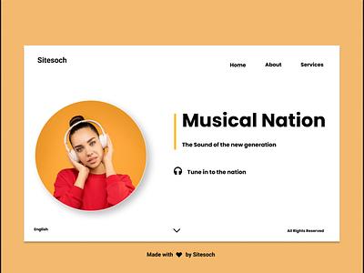 Music Nation musician website web ux ui vector illustrator typography illustration graphic design branding animation music app music