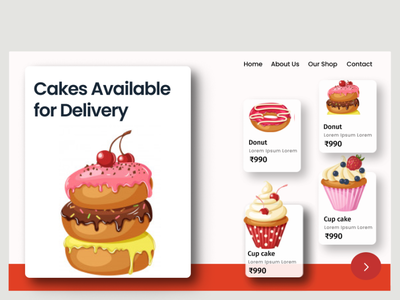 Cakes Product UI web illustration animation graphic design design ui desert food donut cupcake cake
