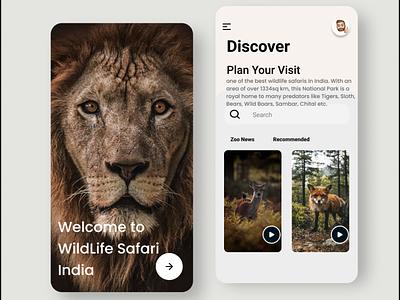 Wildlife Mobile UI mobileui uiux ui discovery lion zoo wildlife