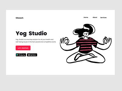 Yoga Landing Page typography animation yoga pose landingpage website webui ui yoga studio yoga