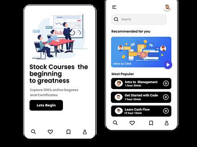 Stock Courses mobileui branding typography illustration design uiux market stock