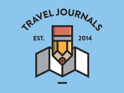 Travel Journals flat flat design icon badge logo map pencil travel thick stroke