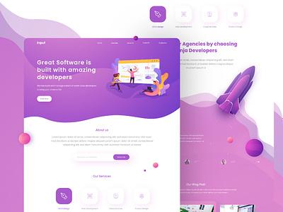 IT Company Web Design landing page designconcept designs it company webdesign clean classy design ux ui design app