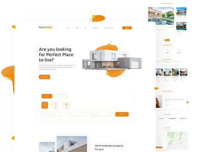 Real Home Landing Page | Website Design design classy design webdesign landing page ui property site real estate website property landing page property search website real estate landing page realestate