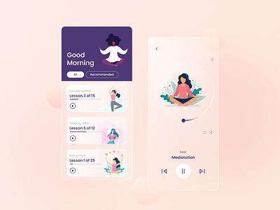Mindfulness Mobile App Concept glassmorphism classy design creative modern stress buster mindfullness mobile app app ux ui