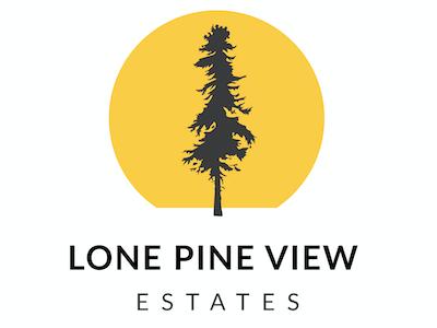 Lone Pine View Logo cabin property real estate sunset tree pine branding logos logo