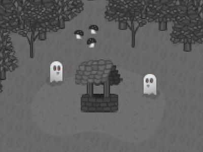 Forest Pixel Art Ghosts graphic design design woods rpg adventure creatures texture pattern well trees photoshop pixel game game art game design ghost inspiration pixel pixel art