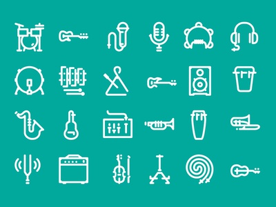 Icon collection of band equipment for thenounproject.com website bass speaker guitar drums stroke set flaticons flat iconography band equipment musical instruments icons