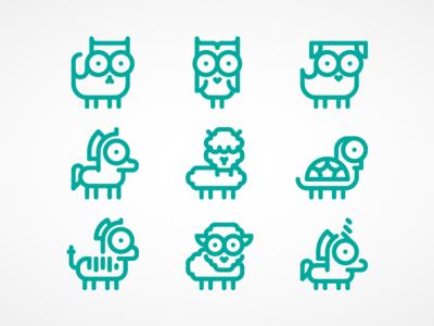 Icon collection of animals for thenounproject.com set line icon zoo big eyes iconography unicorn sheep llama owl alpaca animals icons