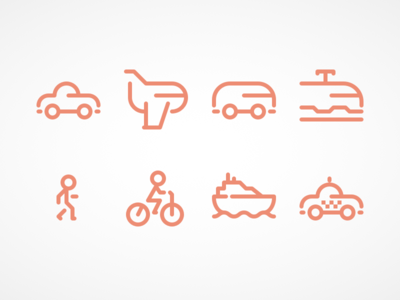 Travel icons travel taxi boat bicycle walking train bus plane car line icons iconography icons