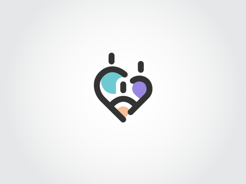 Parenting app logo concept parents child divorce logotype branding icons logo