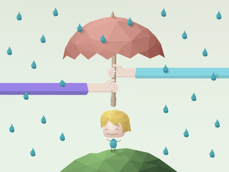 Parents protecting their kid from rain child protection protect father mother love illustration family divorced happy child