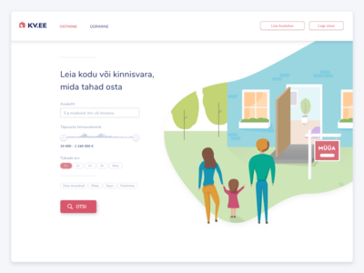 Estonian realestate website kv.ee search bar redesign concept redesigned redesign redesign concept concept ui illustration home house property