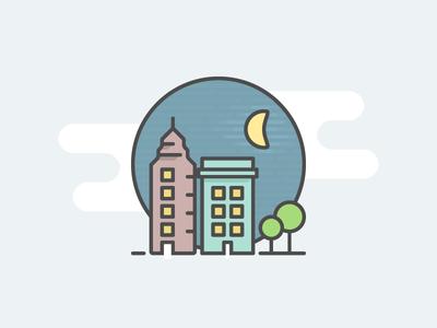 City icon night illustration vector icon city