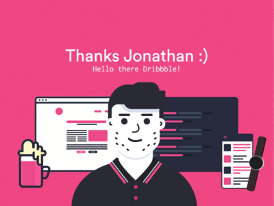 Hey there Dribbble! ember stubble poloshirt smartwatch dribbble pink builder product code beer debut