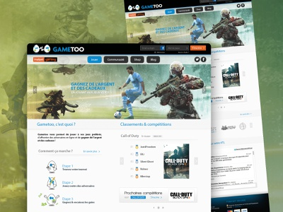 Gametoo • UX & UI Design webdesign callofduty fifa foot game art onepage design designbybry website design website builder uidesign ui ux game design game