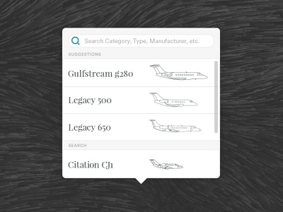 Aircraft Selector Menu list search ui dropdown menu private jet aircraft planes airplanes